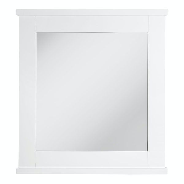Portland white wood wall mirror