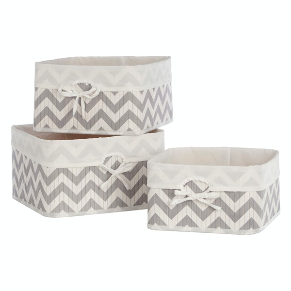 Set of 3 grey chevron bamboo storage baskets