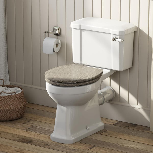 The Bath Co. Camberley close coupled toilet with soft close limed oak seat