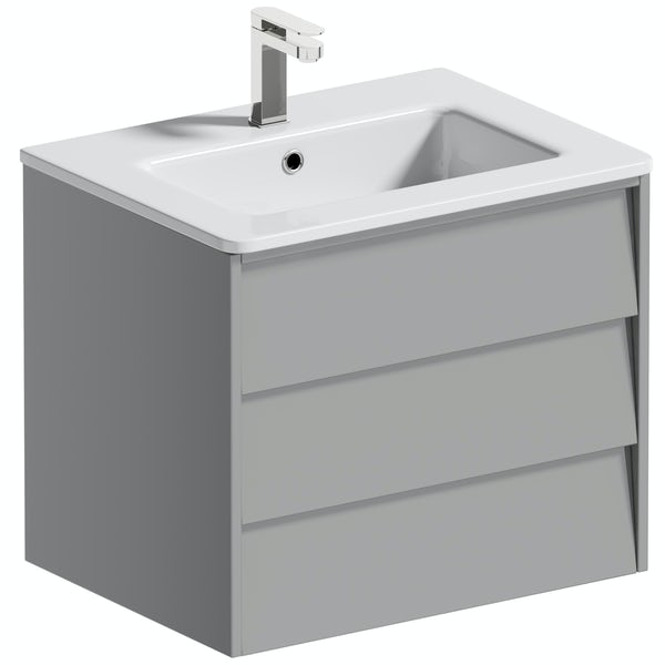 Mode Cortona grey 600mm wall hung vanity unit and basin