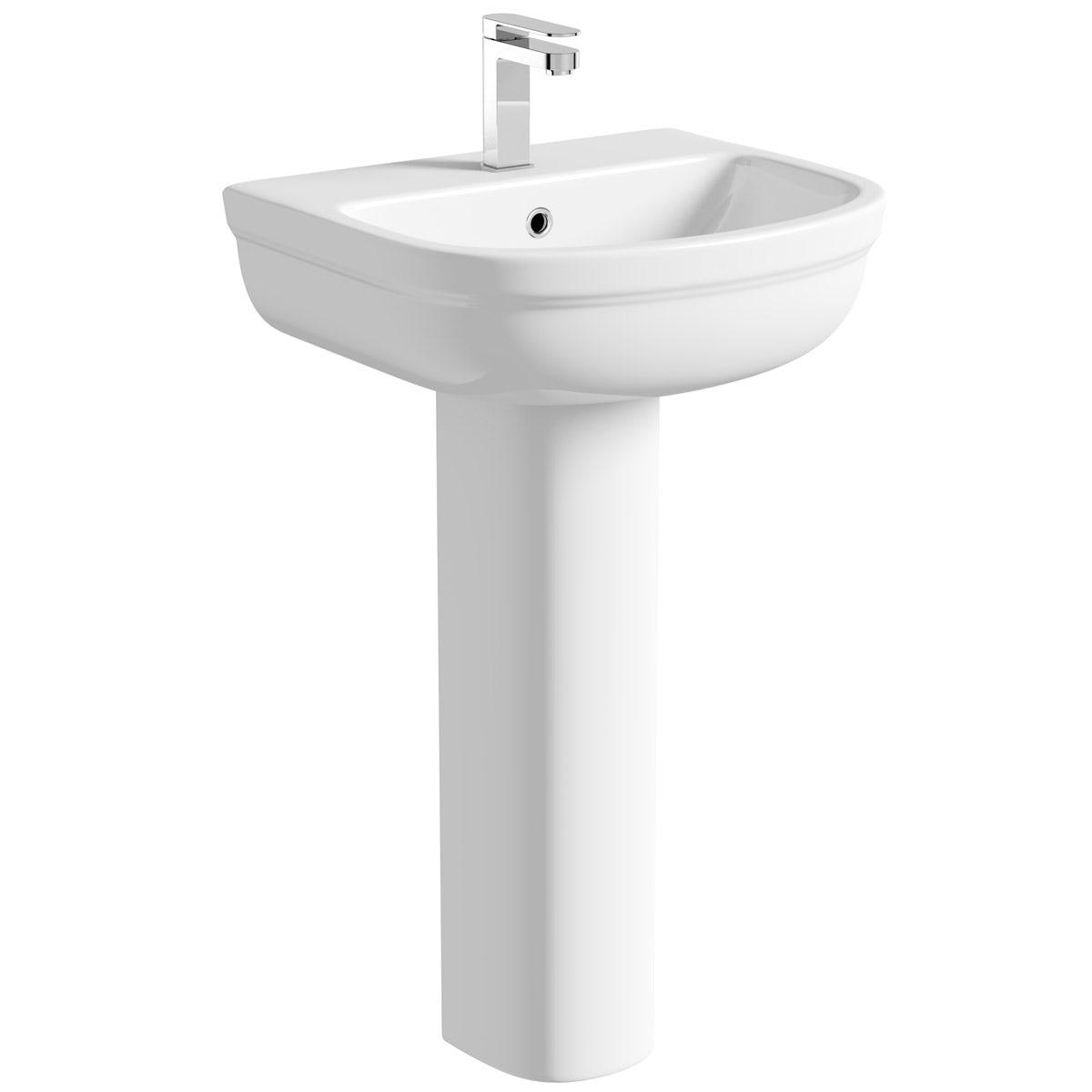 Deco full pedestal basin 550mm