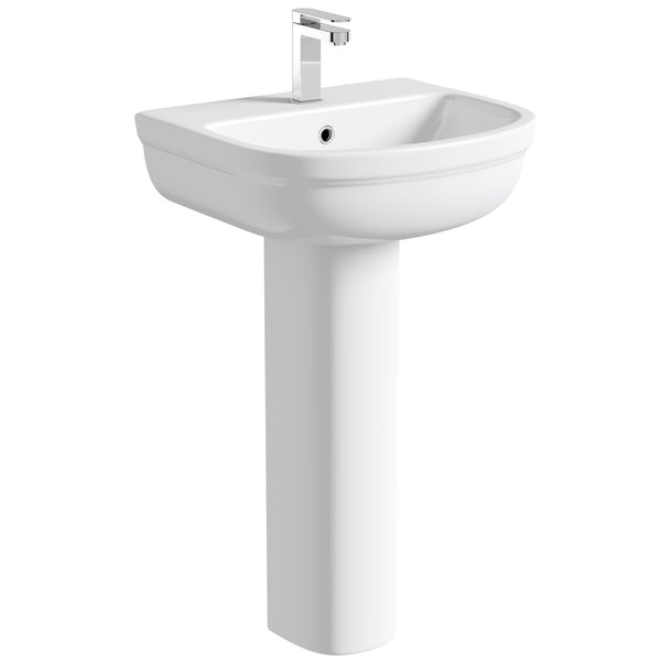 Deco full pedestal basin 550mm