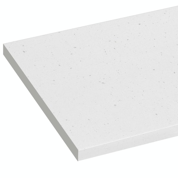 Reeves Wharfe matt white sparkle laminate worktop 337 x 1500mm