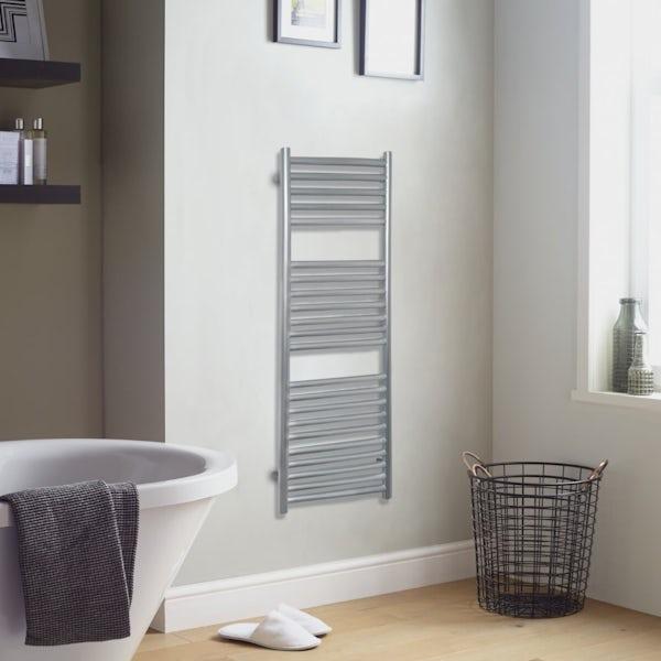 The Heating Co. Mali silver heated towel rail