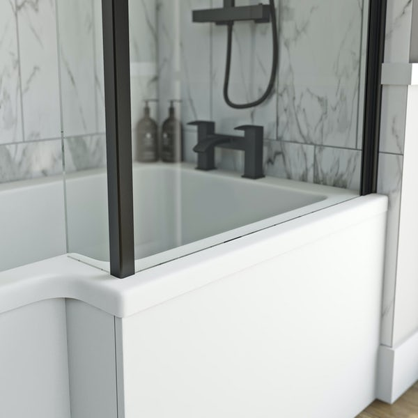 Orchard L shaped right handed shower bath with 6mm matt black shower screen with rail 1500 x 850