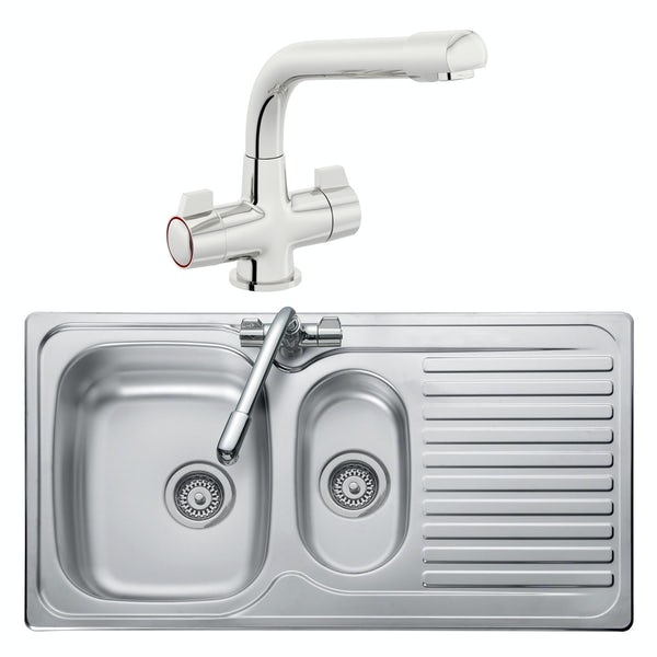 Leisure Linear reversible stainless steel 1.5 bowl kitchen sink and Schon WRAS kitchen tap