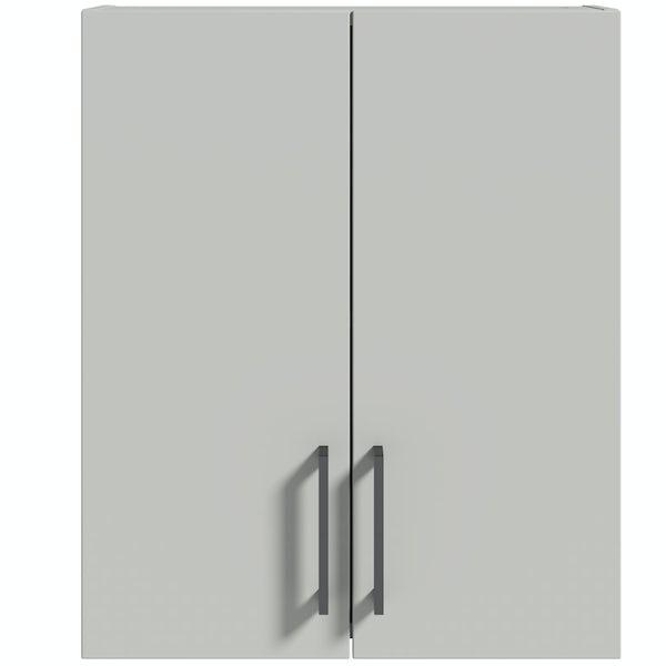 Reeves Wyatt light grey wall hung cabinet 720 x 600mm