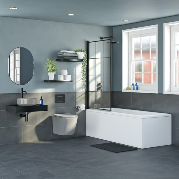 Mode Orion complete bathroom suite with contemporary stone grey wall hung toilet and straight shower bath