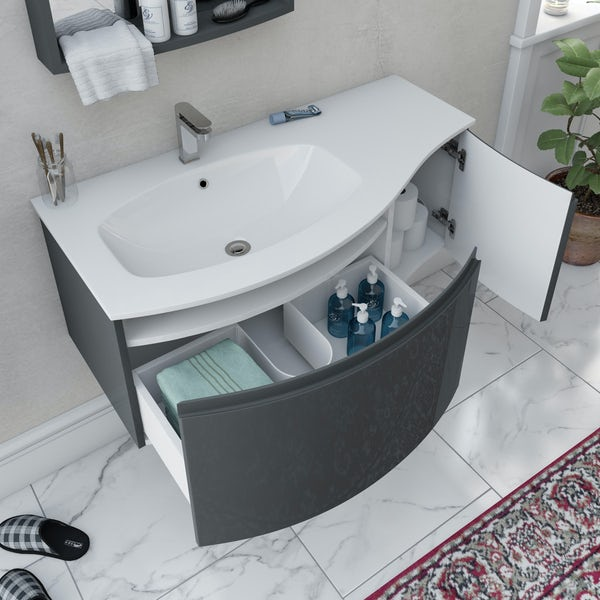 Mode Harrison slate gloss grey furniture package with left handed wall hung vanity unit 1000mm