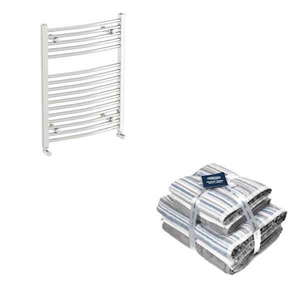 Orchard Elsdon chrome heated towel rail 750x600 with Silentnight Zero twist grey 4 piece towel bale