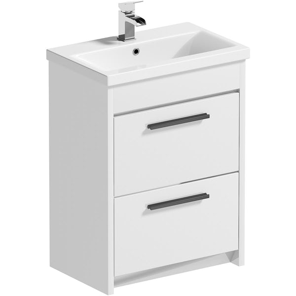 Clarity Compact white wall hung vanity unit with black handle and basin 410mm