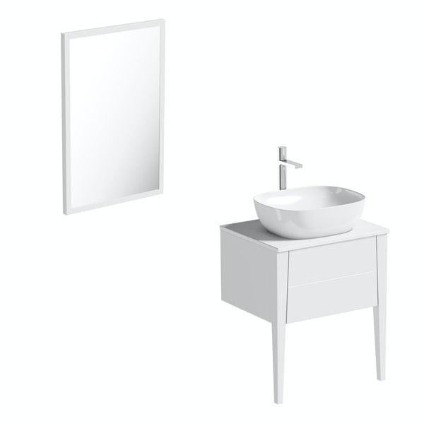Mode Hale white gloss countertop vanity unit and basin 600mm with mirror