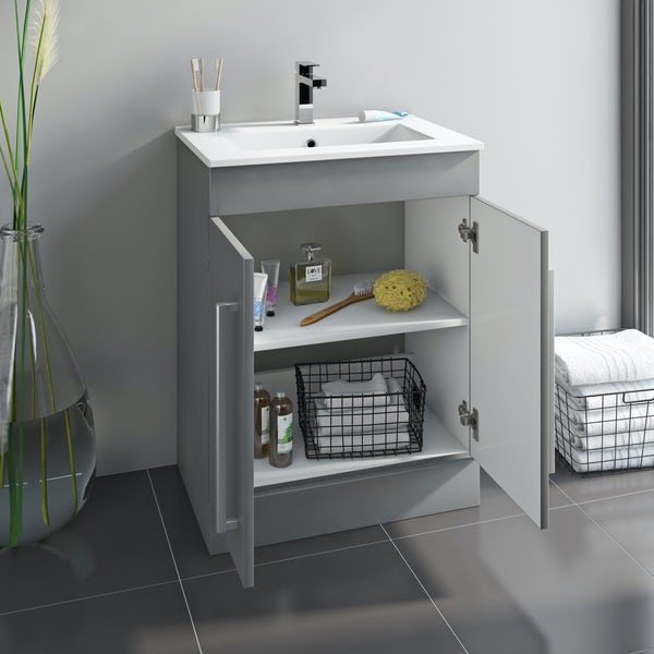 Orchard Derwent round compact close coupled toilet and stone grey vanity unit suite 600mm