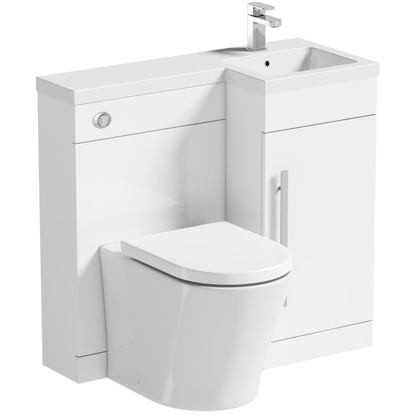 Orchard MySpace white right handed combination with contemporary back to wall toilet and seat