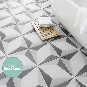British Ceramic Tile Geometric grey feature floor tile 331mm x 331mm