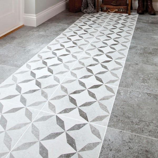 British Ceramic Tile Soft geometric HD Feature matt floor tile 331mm x 331mm