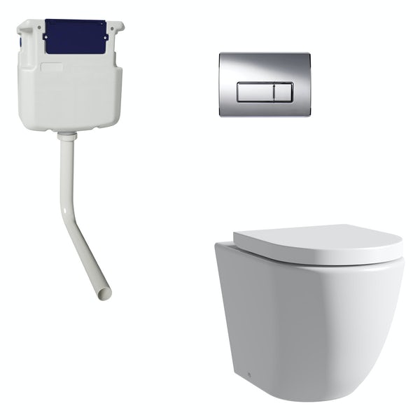 Mode Harrison rimless back to wall toilet with soft close seat, concealed cistern and push plate