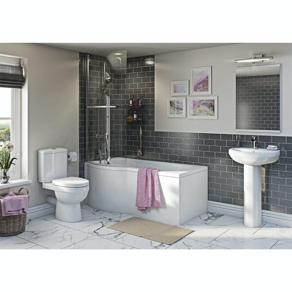 Eden bathroom suite with left handed P shaped shower bath