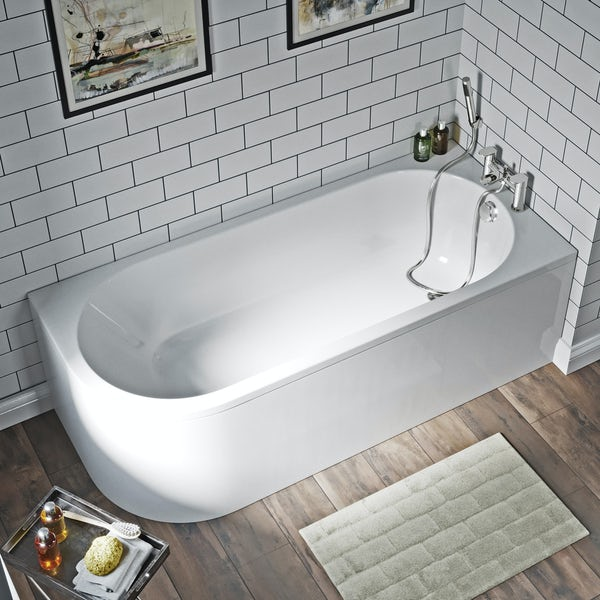 Orchard Elsdon right handed J shaped single ended bath with panel 1700 x 750