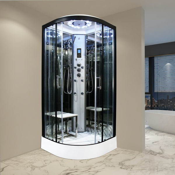 Insignia Platinum black framed quadrant steam shower cabin