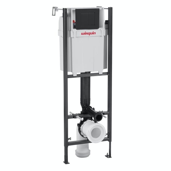 Macdee Wirquin universal wall hung toilet frame with black push plate cistern