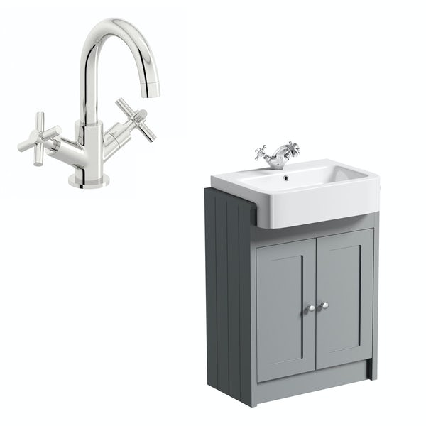The Bath Co. Dulwich stone grey floorstanding vanity unit and ceramic semi recessed basin 600mm with tap