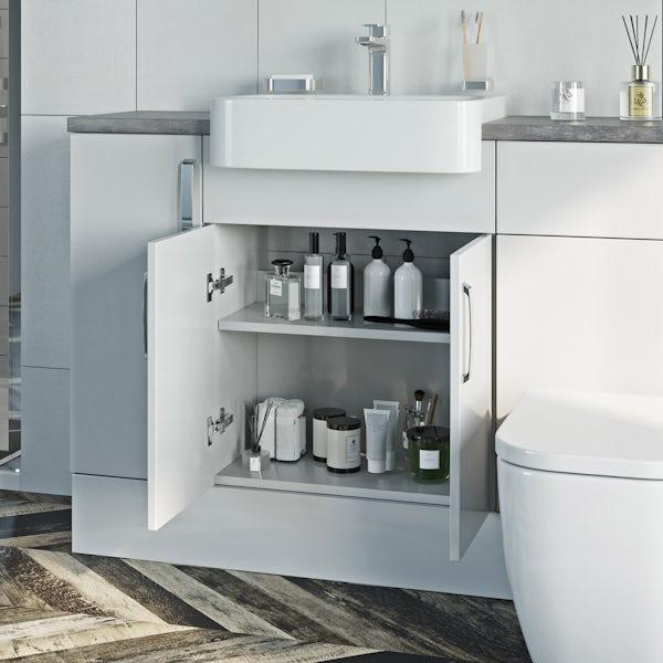 Mode Nouvel gloss white floorstanding vanity unit 600mm