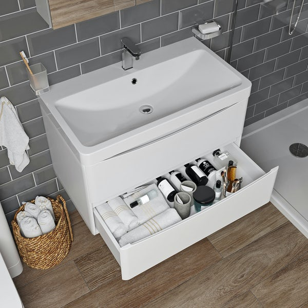 Mode Adler white 800mm wall hung vanity unit and basin
