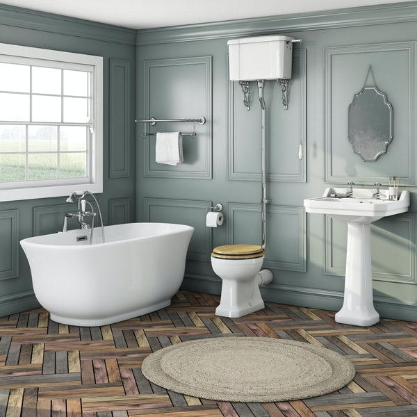 Elegant Elsie bath + Camberley basin 2th + Camberley high level oak