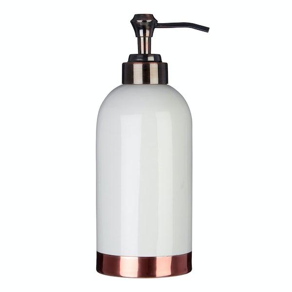 Delta stoneware white and copper lotion dispenser