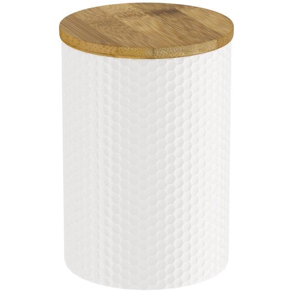 Contour white hex storage jar