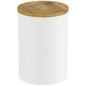 Orchard Contour white hex storage jar