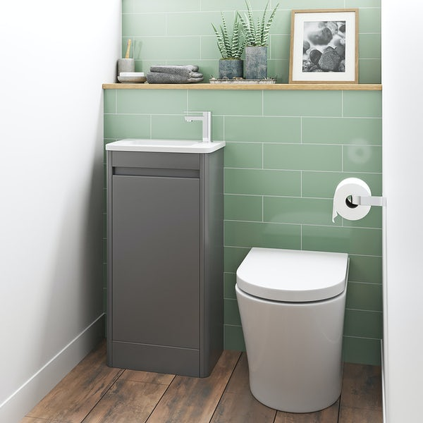Mode De Gale grey cloakroom floorstanding vanity unit and right hand basin 410mm