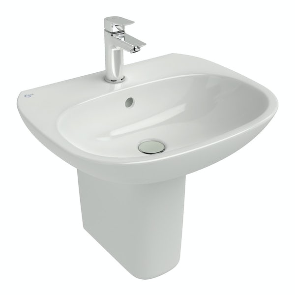 Ideal Standard Tesi 1 tap hole semi pedestal basin 550mm