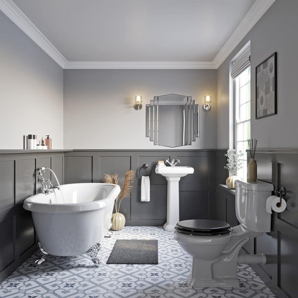Orchard Dulwich roll top bath suite with grey seat 1774 x 785