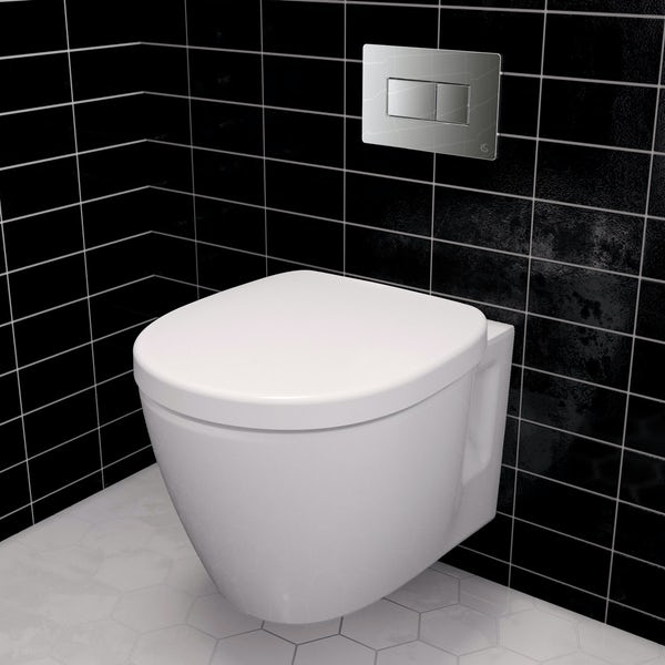 Ideal Standard Concept Space compact wall hung toilet with soft close seat