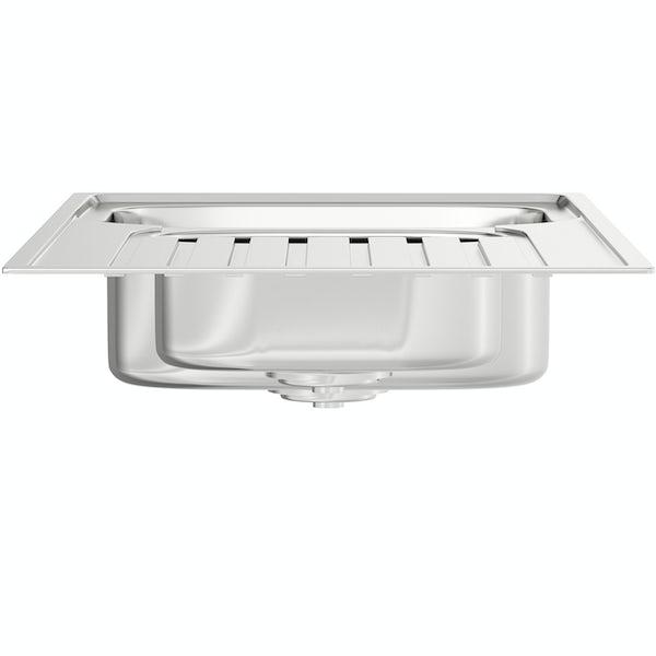 Bristan Inox easyfit universal kitchen sink 1.5 bowl stainless steel with cashew tap