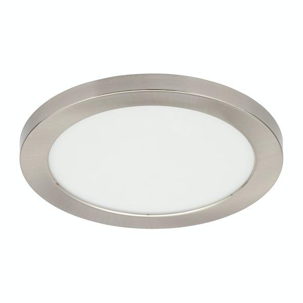 Forum Theta brushed nickel large round flush bathroom ceiling light