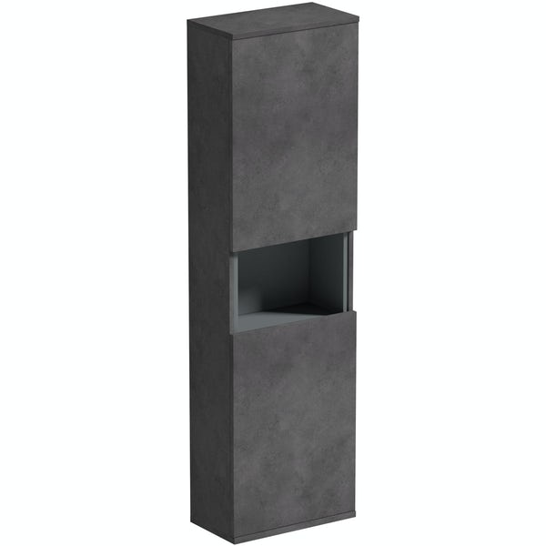 Mode Tate II riven grey wall hung cabinet 1400 x 400mm