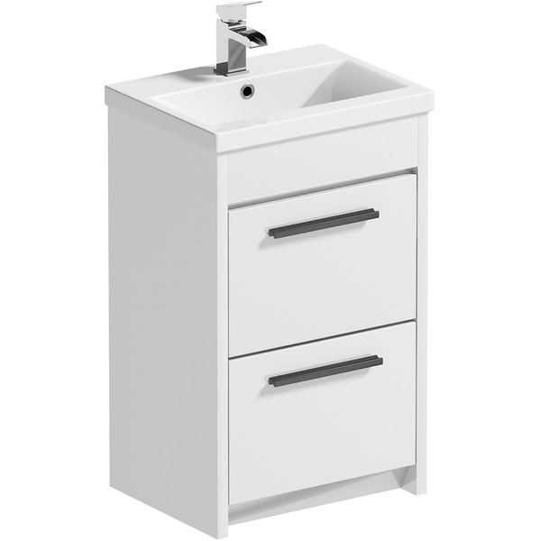 Clarity Compact satin grey wall hung vanity unit with black handle and basin 410mm