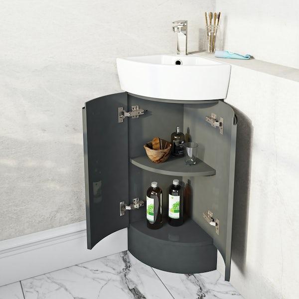 Mode Harrison slate gloss grey corner floorstanding vanity unit and basin 325mm