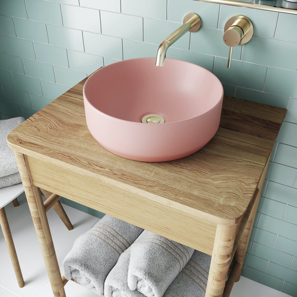 Pink Coloured Countertop Basin 355mm