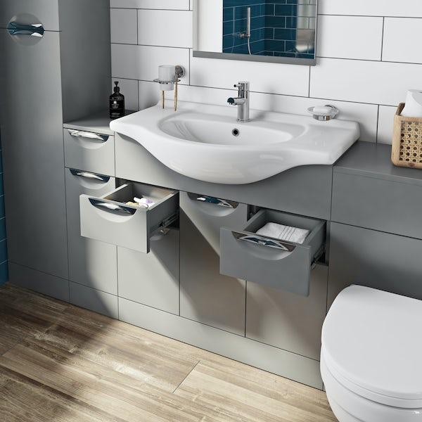 Orchard Elsdon stone grey vanity unit and basin 850mm