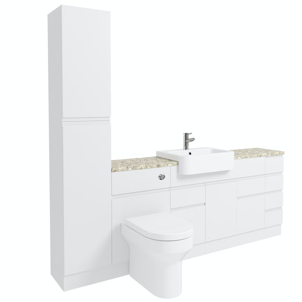 Orchard Wharfe white straight medium drawer fitted furniture pack with beige worktop