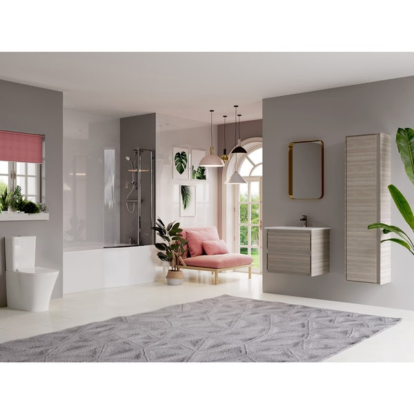 Ideal Standard Concept Air complete left hand wood light grey furniture and Idealform Plus shower bath suite 1700 x 800