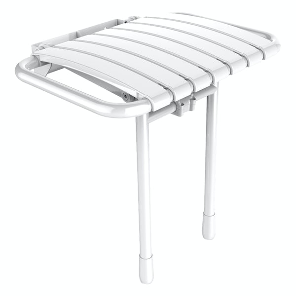 AKW Bama compact folding shower seat white