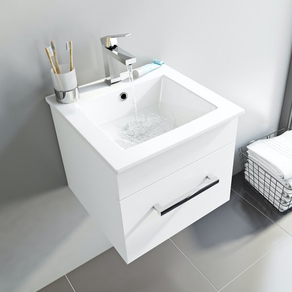 Orchard Derwent white cloakroom vanity and mirror 600mm