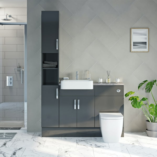 Mode Nouvel gloss grey tall fitted furniture combination with mineral grey worktop