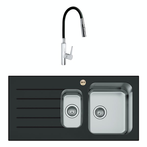 Bristan Gallery glacier left handed black glass easyfit 1.5 bowl kitchen sink with Flex tap