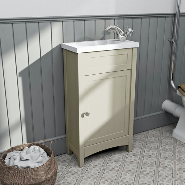 The Bath Co. Camberley satin ivory cloakroom floorstanding vanity unit and basin 460mm